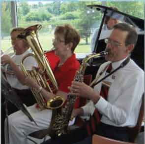 The author playing baritone horn, with her husband Gary on saxophone.