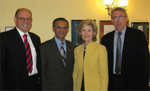 Pictured here, from left to right, are ACR Treasurer David Borenstein, MD; Government Affairs Committee Chair Sharad Lakhanpal, MD; Senator Kay Bailey Hutchison (R-Texas); and ACR President-elect Stan Cohen, MD, during an advocacy visit.
