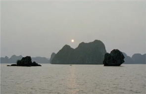 The Halong Bay mountains.