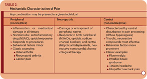 Table 2: Mechanistic Characterization of Pain