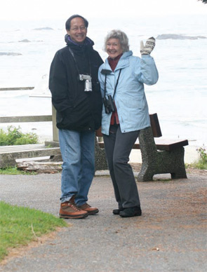 Dr. Liang with his wife, Diane Garthwaite, on a birding and beach walking trip to Tofino, Vancouver Island.