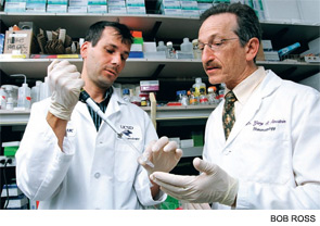 Right to left: Gary S. Firestein, MD, and Jean-Mark Waldburger, MD, PhD, a post-doctoral fellow in Dr. Firestein's lab.