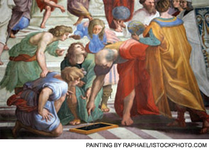 Ptolemy and Strabo in The School of Athens by Raphael.