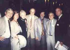 Attendees of the dinner following Dr. Bacon's Festschrift in September 2001 (shown left to right): Cees Kallenberg, Jean Bacon, Inca Hunder, Gene Hunder, Paul Bacon, Loic Guillevin, Wolfgang Gross.