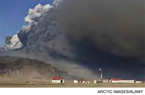 Volcanic ash cloud from the Eyjafjallajokull volcano eruption in Iceland in the spring of 2010.