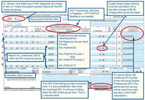 Figure 1: Claim sample for reporting the Rheumatoid Arthritis Measures Group on a CMS-1500 claim.