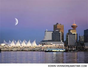 The Vancouver waterfront, with the Pan Pacific Hotel on the right.