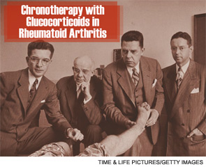 Arthritis specialists (left to right) Dr. C. H. Slocumb, Dr. Edward C. Kendall, Dr. Philip S. Hench, and Dr. H. F. Polley examining a patient at the Mayo Clinic.