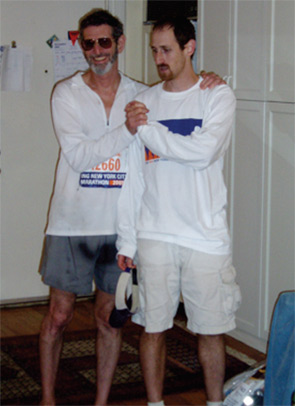 Dr. Panush and his son, David, after the New York City Marathon.