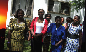 Sharon Argwings-Kodhek (front row, second from the left) and some of the patients in the support group.