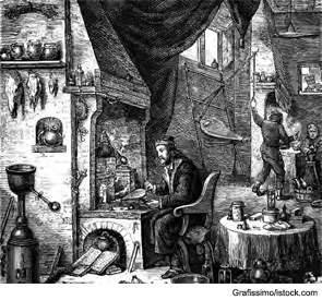Engraving of an old research laboratory.