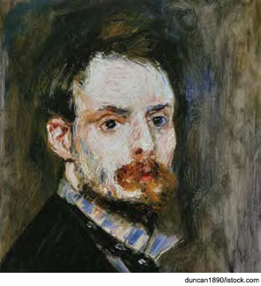 Self portrait of Pierre-Auguste Renoir, who developed crippling rheumatoid arthritis late in his life.