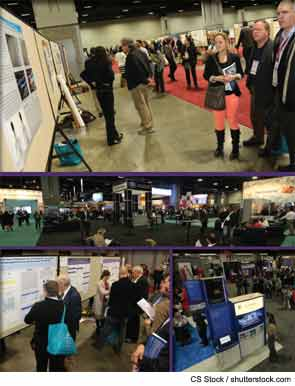 Annual meeting attendees visit the Poster and Exhibit Halls.