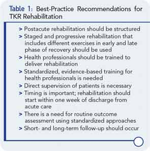 Best-Practice Recommendations for TKR Rehabilitation