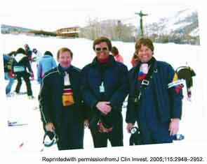 Organizers of the 4th Winter Rheumatology Symposium, Snowmass, 1980. From left to right: Edward W. Holmes, MD, William N. Kelley, MD, and William Arnold, MD.