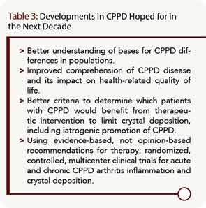 Developments in CPPD Hoped for in the Next Decade