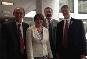 From left: Eric L. Matteson, MD; Sen. Amy Klobuchar (D-Minn.); Timothy Laing, MD; and Gary Bryant, MD.