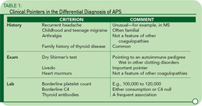 Clinical Pointers in the Differential Diagnosis of APS