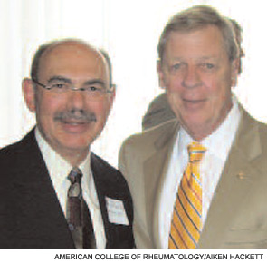 ACR President Neal Birmbaum, MD (left), met Sen. Isakson at the legislative briefing.