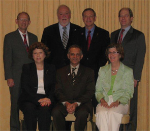 The ACR Executive Committee—front row: Karen Smarr, PhD, Sharad Lakhanpal, MD, MBBS, and Joan Von Feldt, MD, MS Ed; back row: Eric Matteson, MD, Joseph Flood, MD, E. William St.Clair, MD, and David Karp, MD, PhD.
