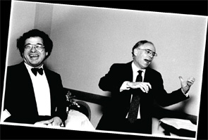Israeli-American violinist and conductor Itzhak Perlman (left) with Dr. Steere in an unguarded moment of joy.